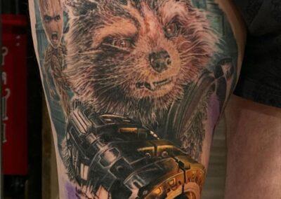 Tatuaje de Jr. Verger en Verger Tattoo Rocket Racoon